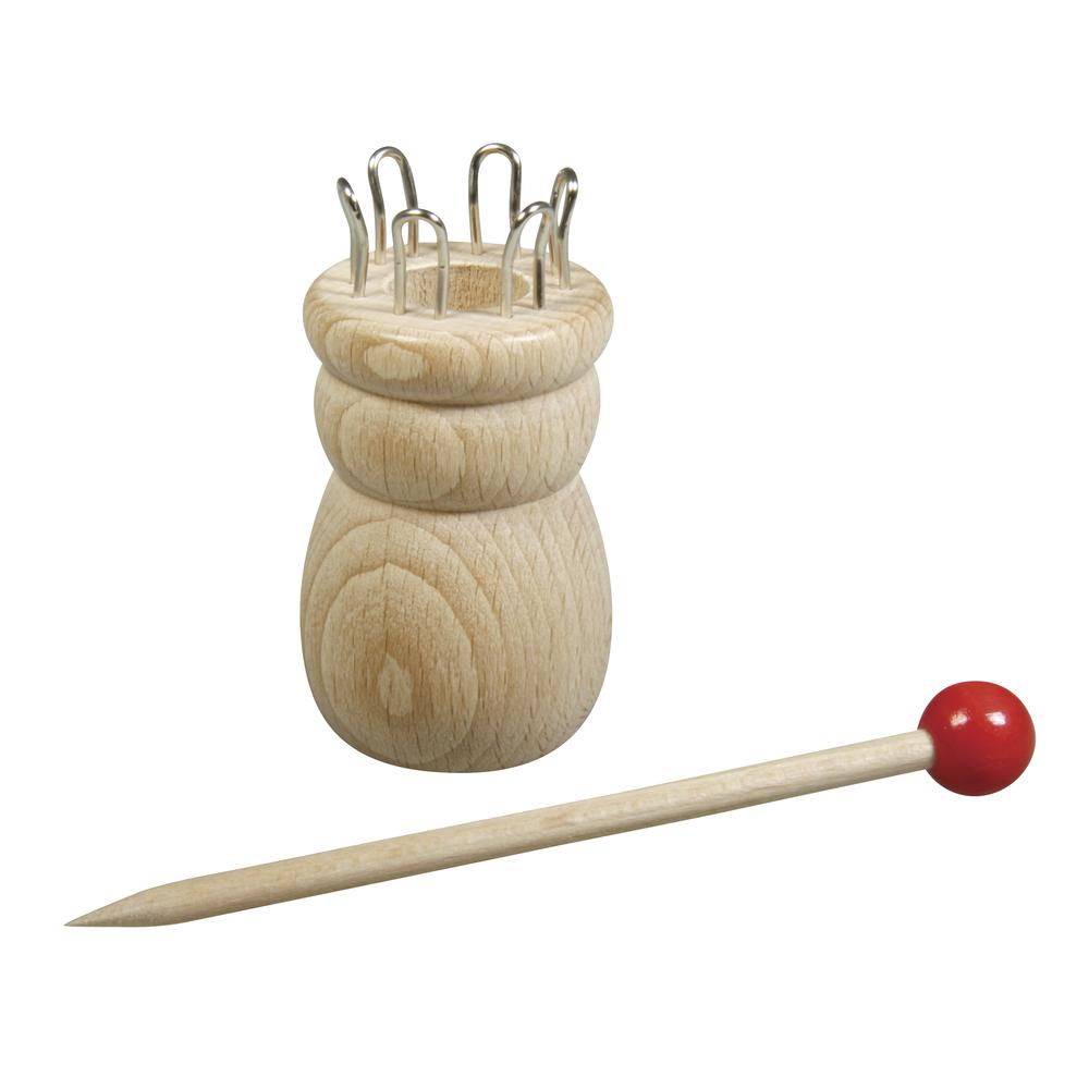 Holz Strickliesel m.Nadel,3,4cmø FSC100%, 6,2cm, 6 Ösen, ø-Loch:1,5cm, SB-Btl 1Set