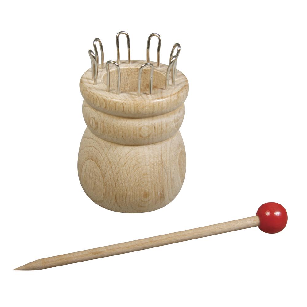 Strickliesel m.Nadel, FSC100%, 4,4cm ø, 6,2cm, 8 Ösen, ø-Loch:2,5cm, SB-Btl 1Set
