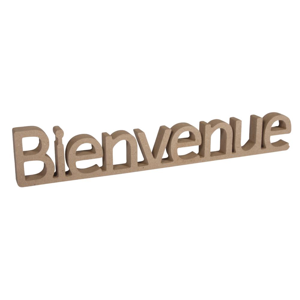 MDF Wort Bienvenue,FSC Mix Credit, 27x1,5x5,5cm