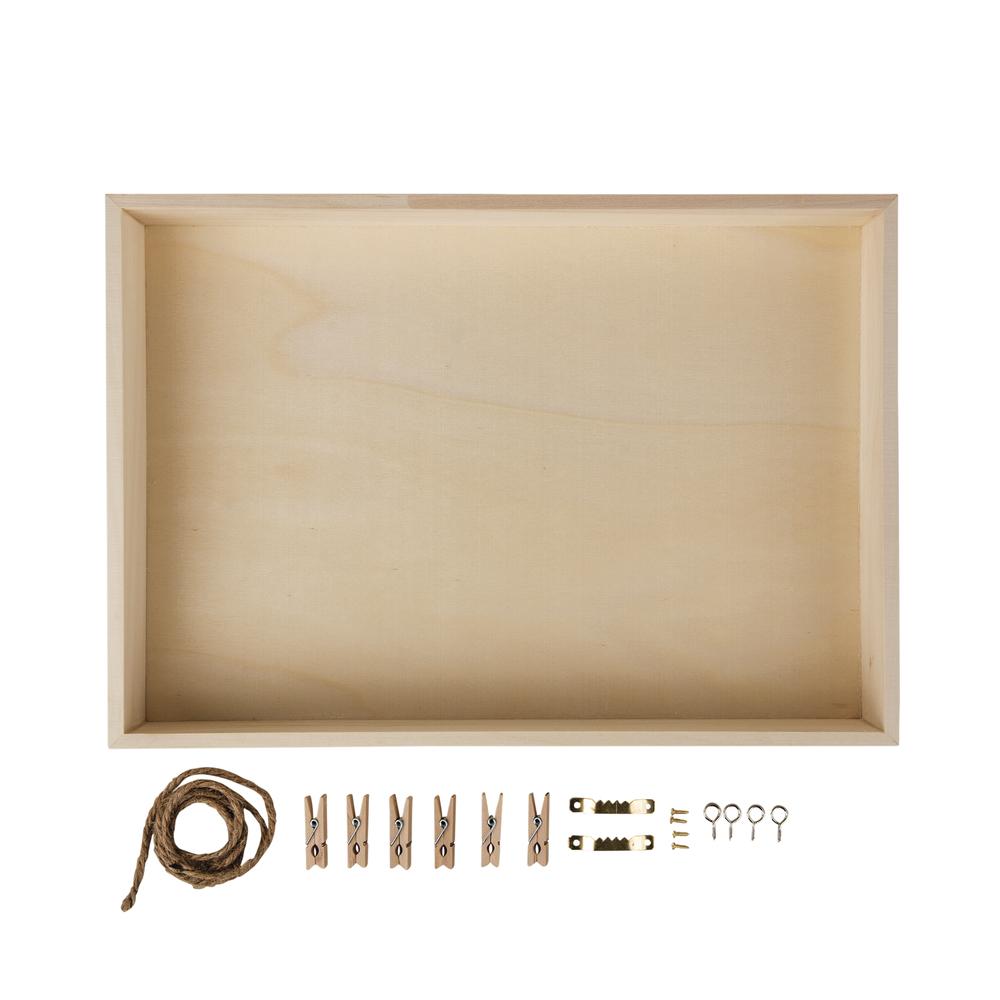 Holz-Rahmen m. Rückwand, FSC Mix Credit, 36x25x5cm, +Kordel, Aufhänger,Klammern