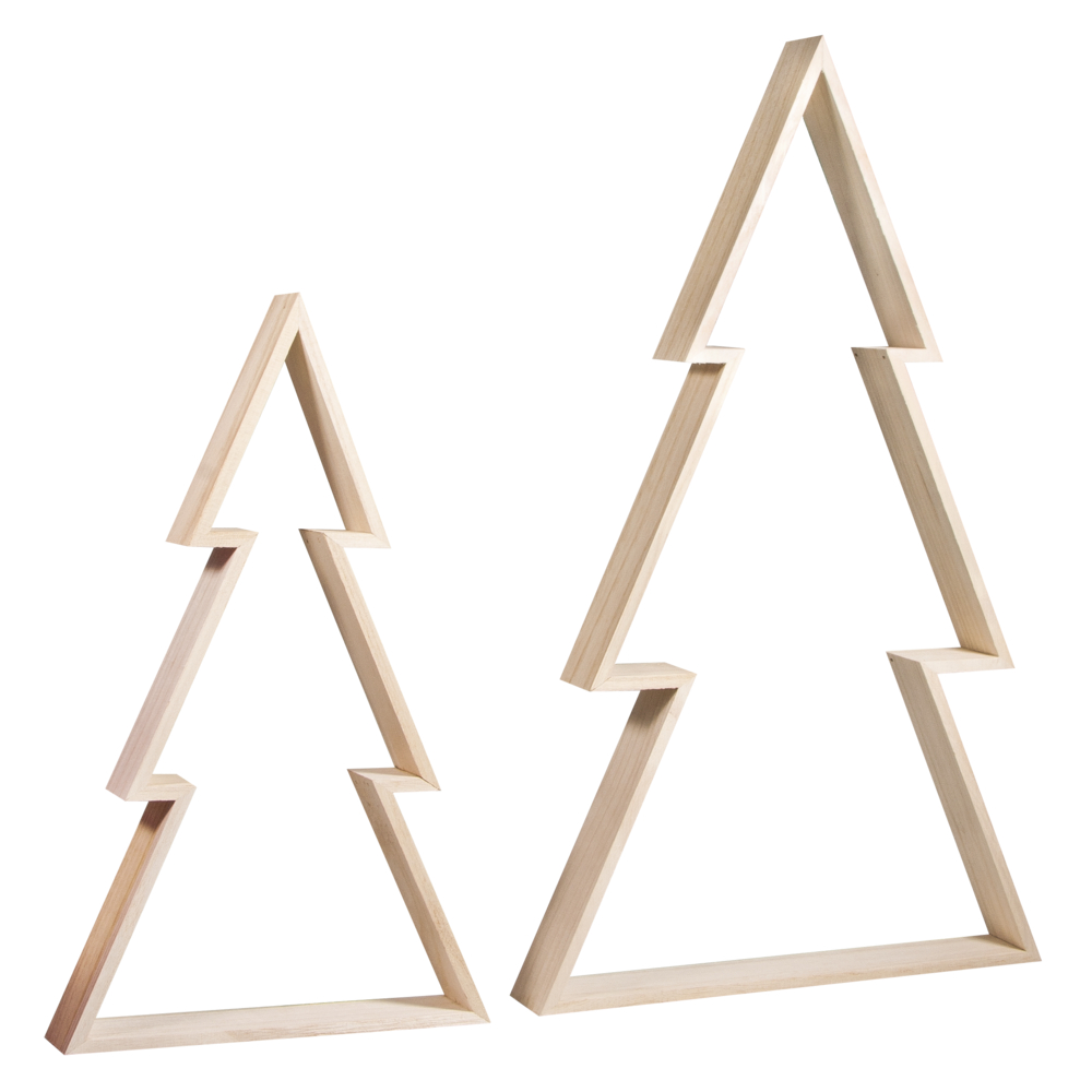 Holz Rahmen Set Weihnachtsb., FSCMixCred, 22x36 + 30x49,5cm, Höhe 4cm, 2Stück