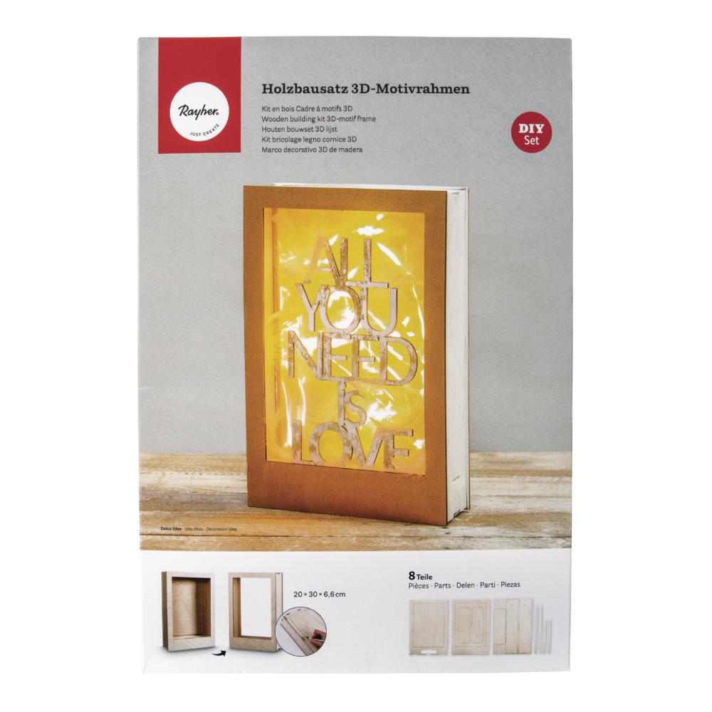 Holzbausatz 3D-Motivrahmen, FSC 100%, 20x30x6,6cm, 8-tlg. , Box 1Set, natur