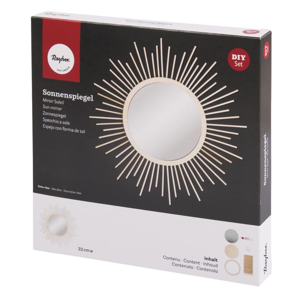 Bastelpackung: Sonnenspiegel klein, 32cm ø, Spiegel ø 15cm, Box 1Set