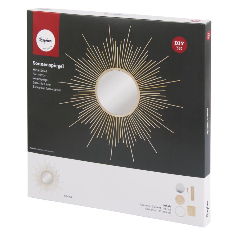 Bastelpackung: Sonnenspiegel groß, 63cm ø, Spiegel ø 20cm, Box 1Set