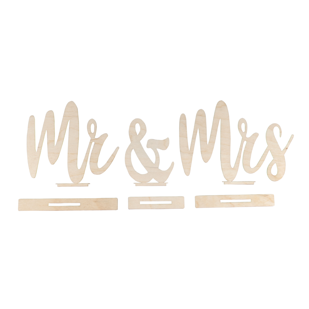 Holzmotive Mr&Mrs, FSCMixCred, 42x2x14,5cm, 6-teilig, SB-Btl 1Set, natur