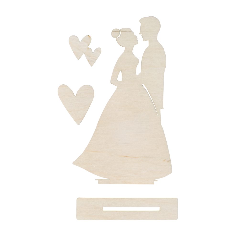 Holzmotiv Brautpaar, FSCMixCred, 9x15,5cm, 4-teilig, SB-Btl 1Set, natur