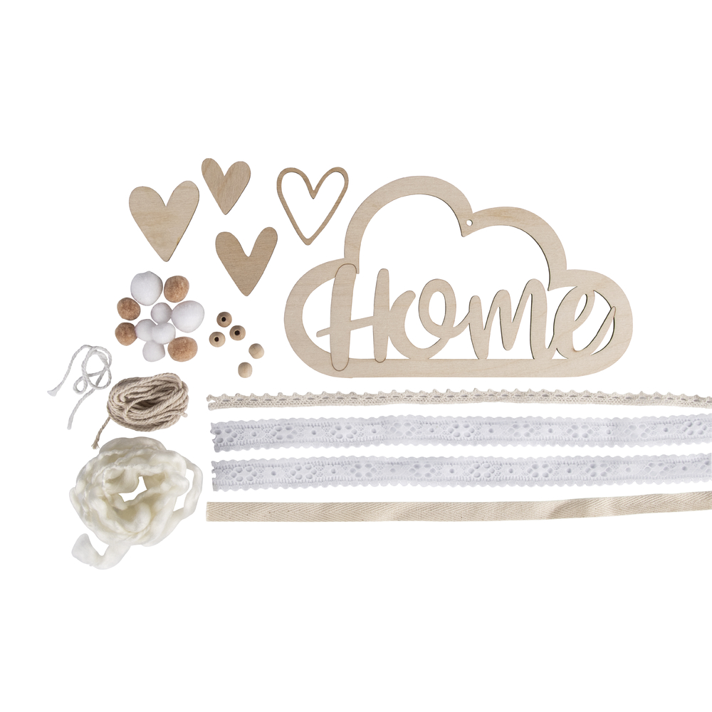 Bastelpackung: Holzhänger mit Bänder Home, Holzhänger: 22x12,5cm, SB-Btl 1Set, creme