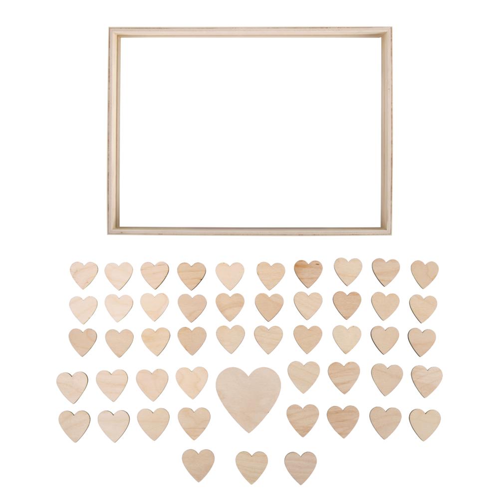 Holz-Gästebuch mit Herzen, FSCMix Credit, 35x26x4cm, zum Stellen, Box 1Set, natur
