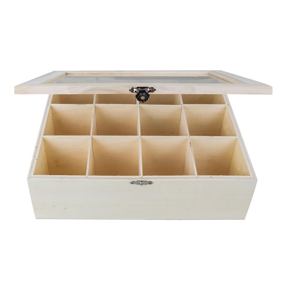 Holz Teebox, FSC 100%, 28,5x23,5x9cm, natur