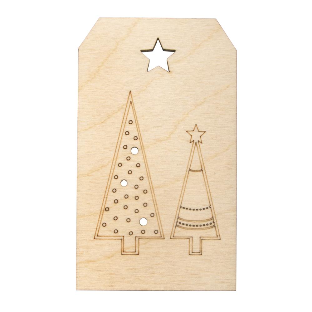 Holz-Anhänger Weihnachtsbäume,FSCMixCred, 4,8x8,2cm, natur
