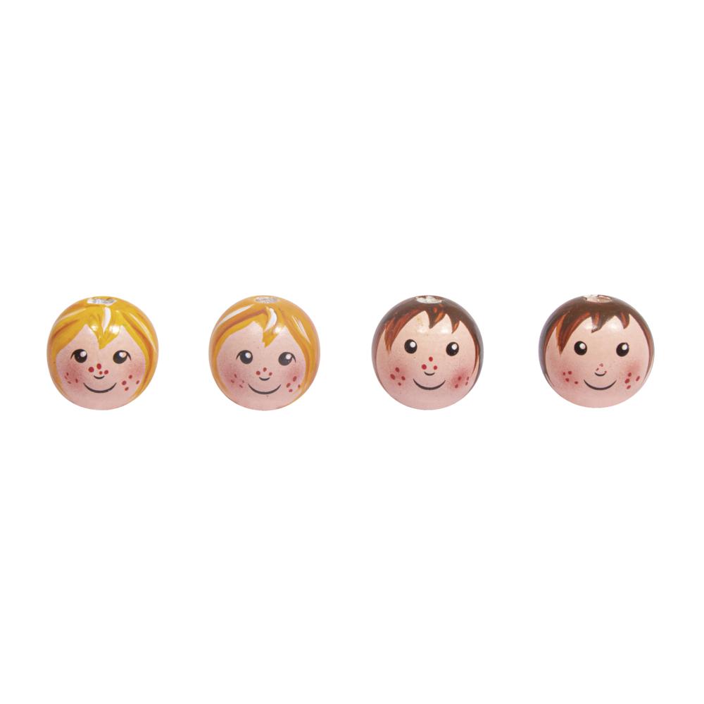 Holzkugel Kopf,Mädchen und Junge, 23mm ø, 2 Designs, handgemalt, SB-Btl. 4Stück