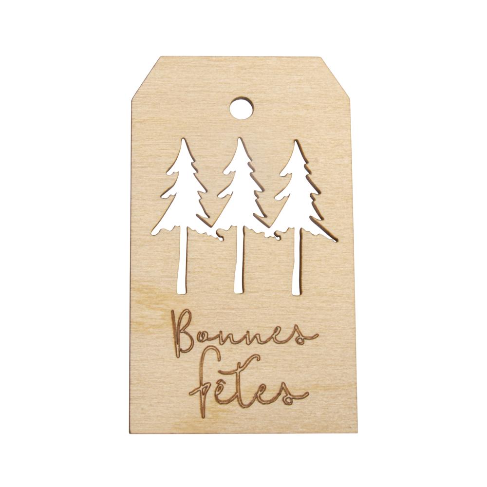 Holz Anhänger bonnes fêtes,FSC MixCred, 4,8x8,2cm, natur