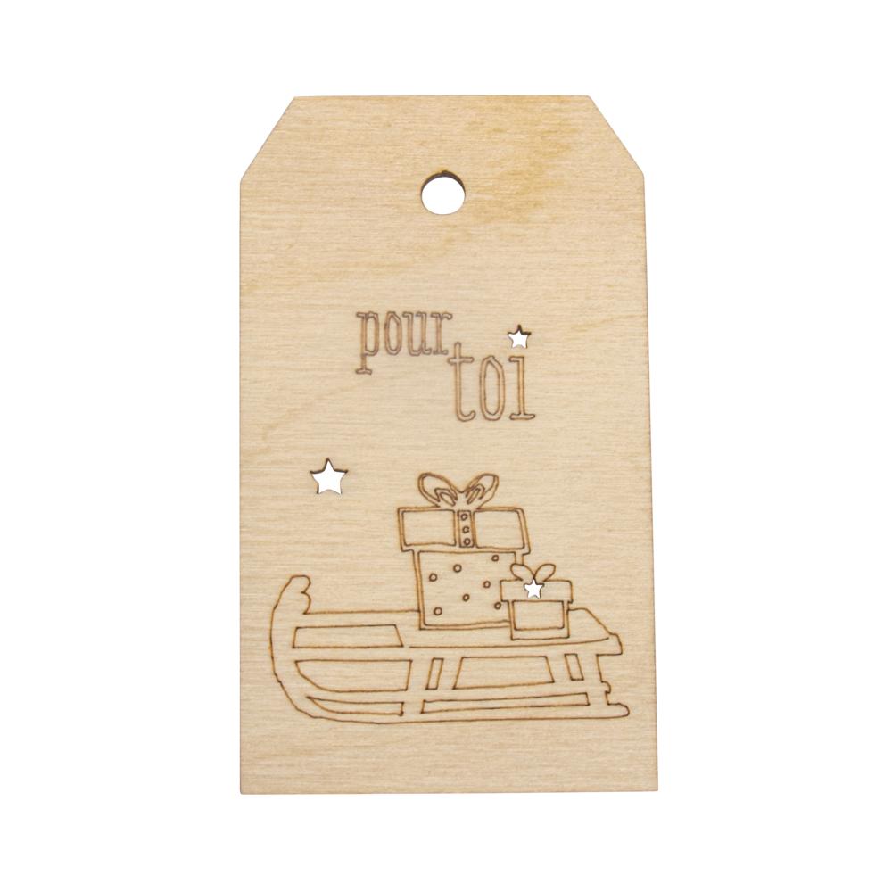 Holz Anhänger pour toi,FSC MixCred, 4,8x8,2cm, natur