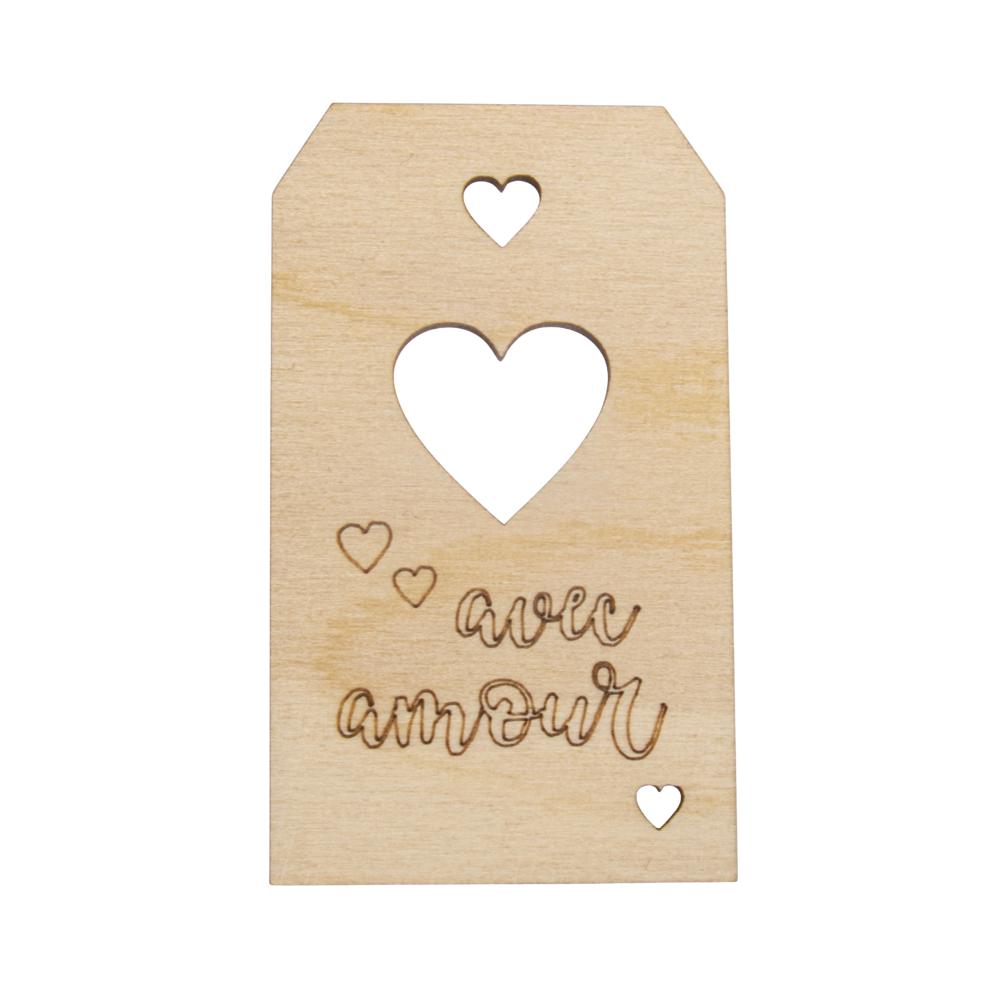 Holz Anhänger avec amour FSC MixCred, 4,8x8,2cm, natur