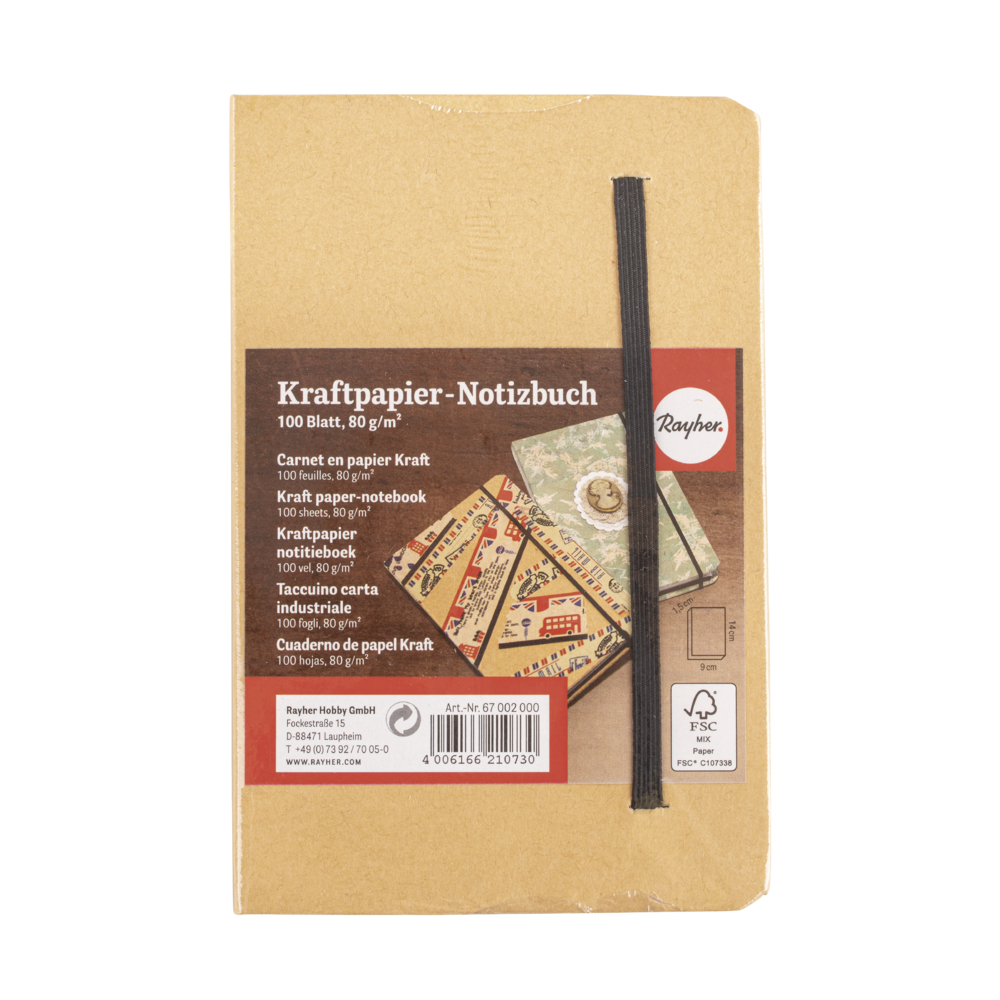 Kraftpapier-Notizbuch FSC Mix Credit, 9x14x1,5cm, 100 Blatt, 80 g/m²