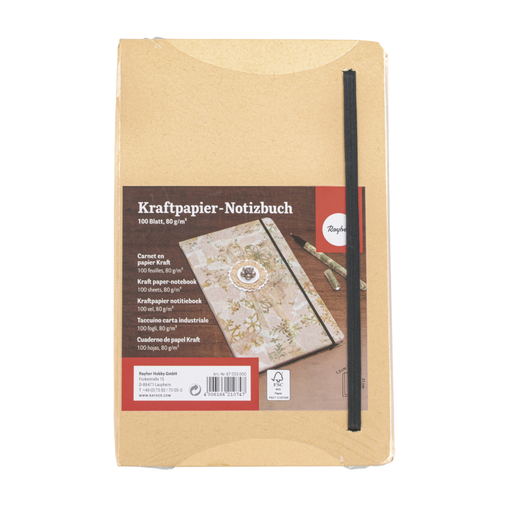 Kraftpapier-Notizbuch FSC Mix Credit, 13x21x1,5cm, 100 Blatt, 80 g/m²