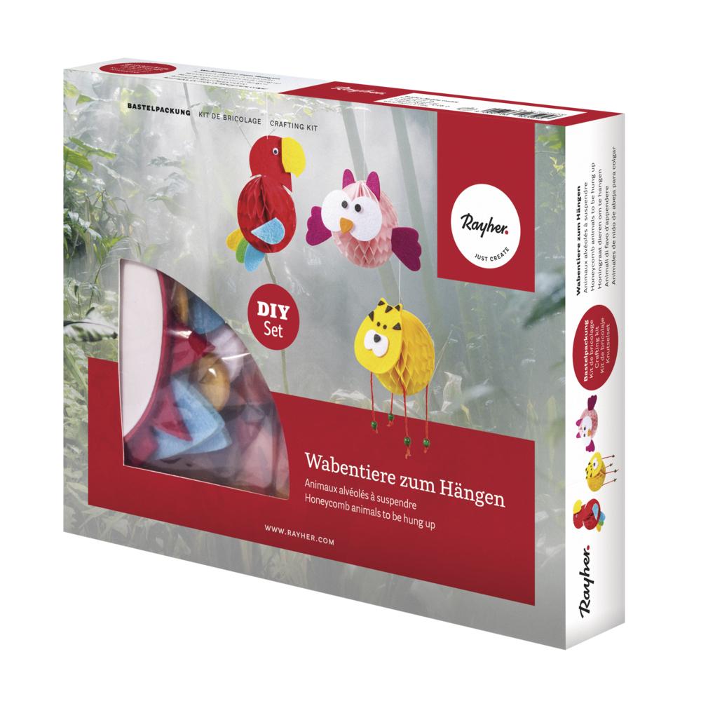 Bastelpackung: Wabentiere, Eule/Tiger/Papagei, Box 3Stück