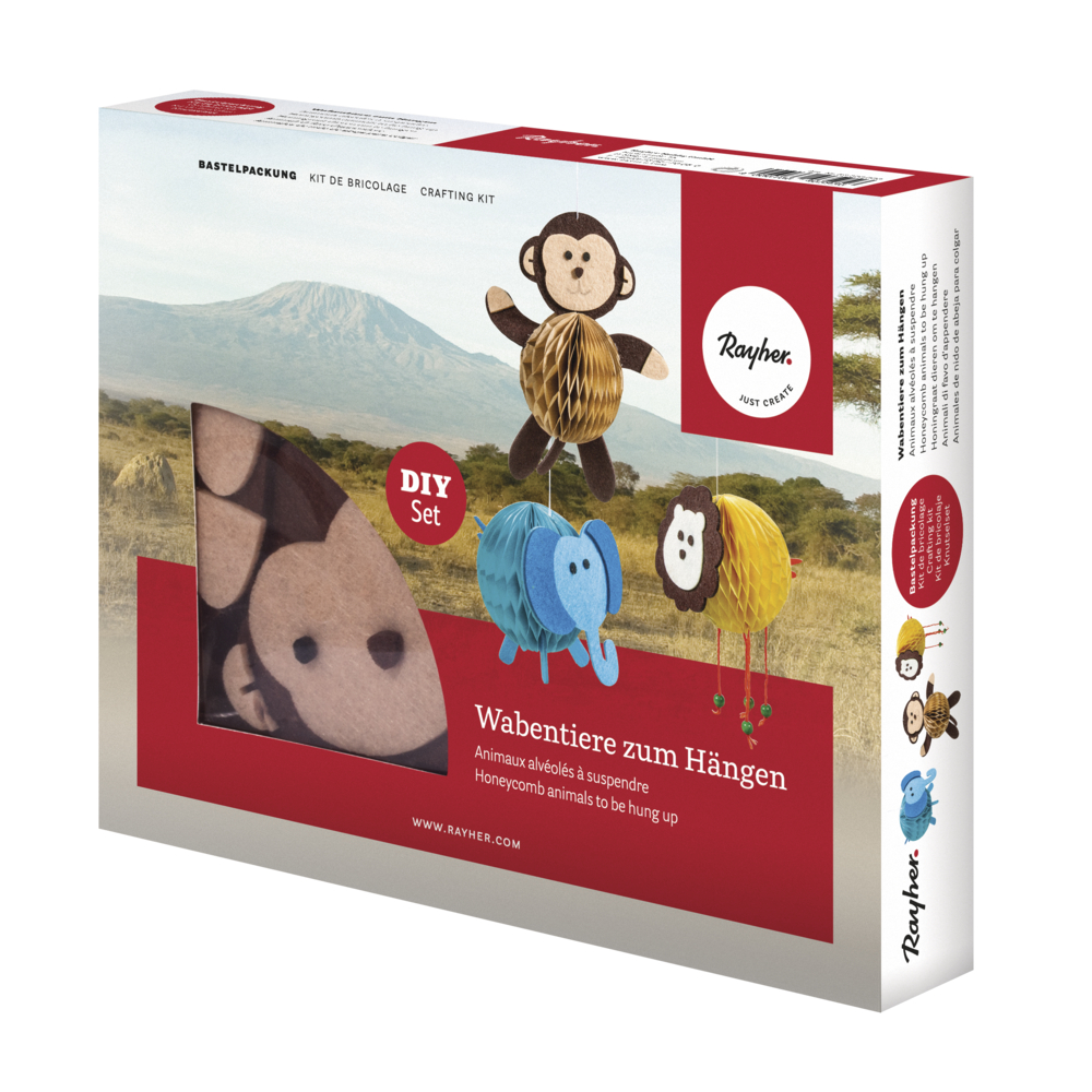 Bastelpackung: Wabentiere, Löwe/Elephant/Affe, Box 3Stück