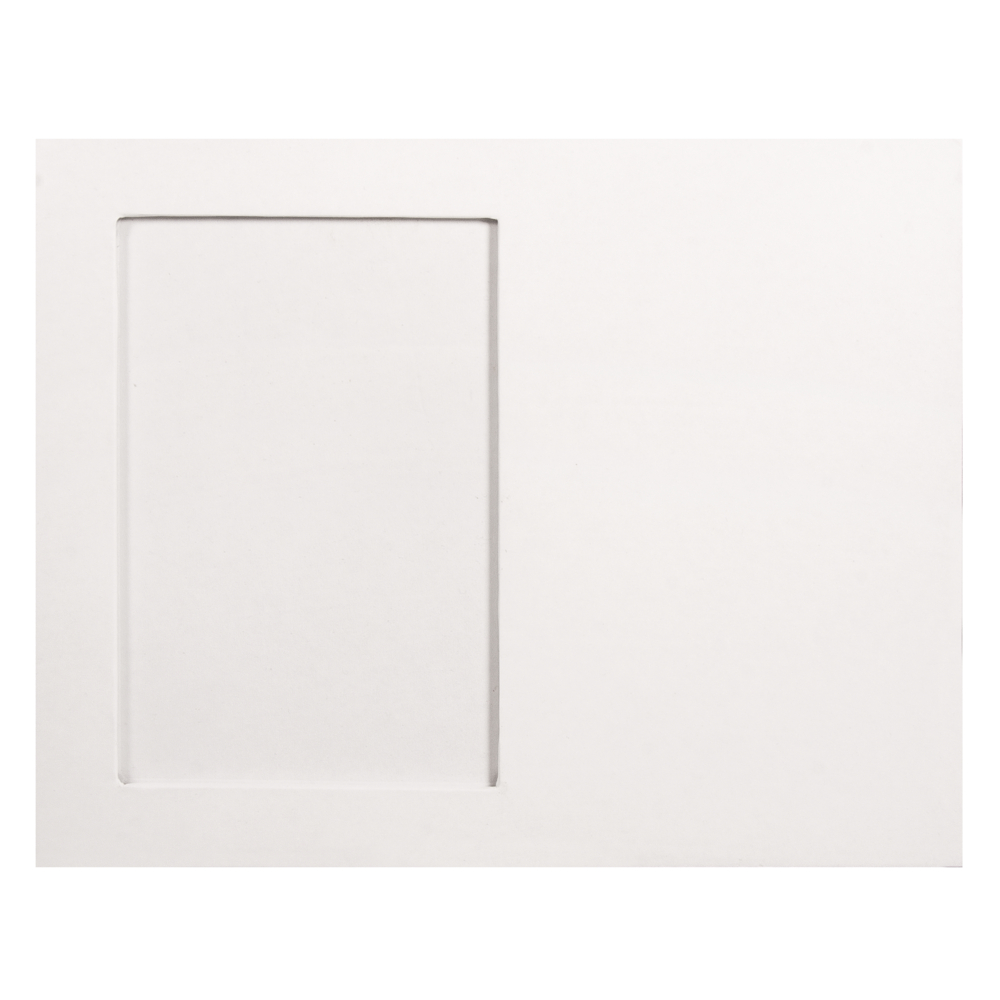 Pappm. Bilderrahmen, FSC Rec. 100%, 23x18x0,7cm, Bildausschnitt 9,5x14,3cm, weiß
