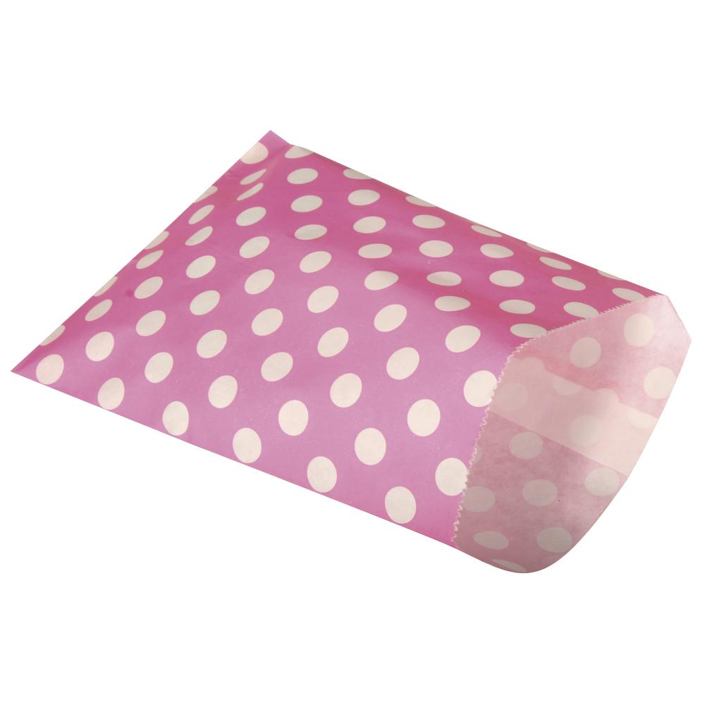 Papiertütchen Lebensmittelecht, pink mit Punkten, SB-Btl 25Stück, 12,9x16,8cm