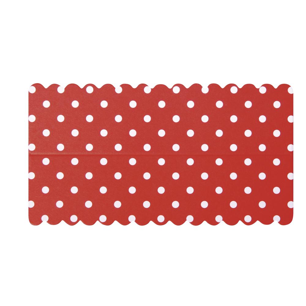 Lasche zum Verschließen v. Papiertütchen, rot mit Punkten, SB-Btl 10Stück, 13x7cm
