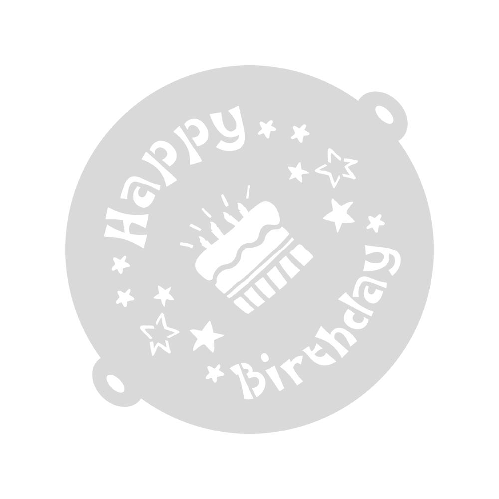 Cake Stencil Happy Birthday, 26cm ø, + Bordüre 22x8cm, SB-Btl 1Set