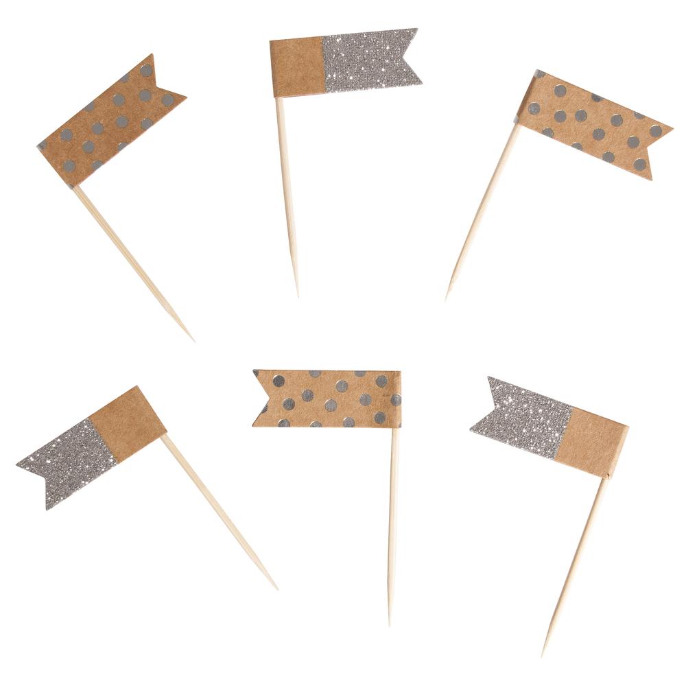 Flaggenpicker sortiert, 6,5cm, Flagge: 4x1,5cm, SB-Btl 12Stück