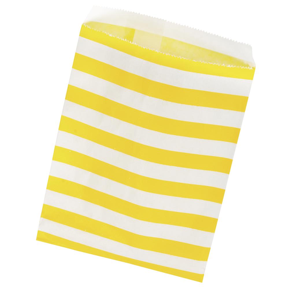 Papiertütchen Lebensmittelecht, weiß/gelb gestreift, SB-Btl 25Stück, 12,9x16,8cm