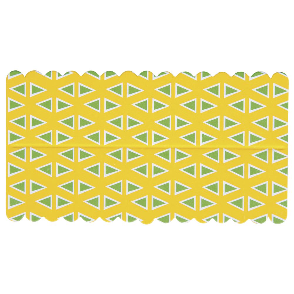 Lasche zum Verschließen v. Papiertütchen, gelb/grün Dreieck, SB-Btl 10Stück