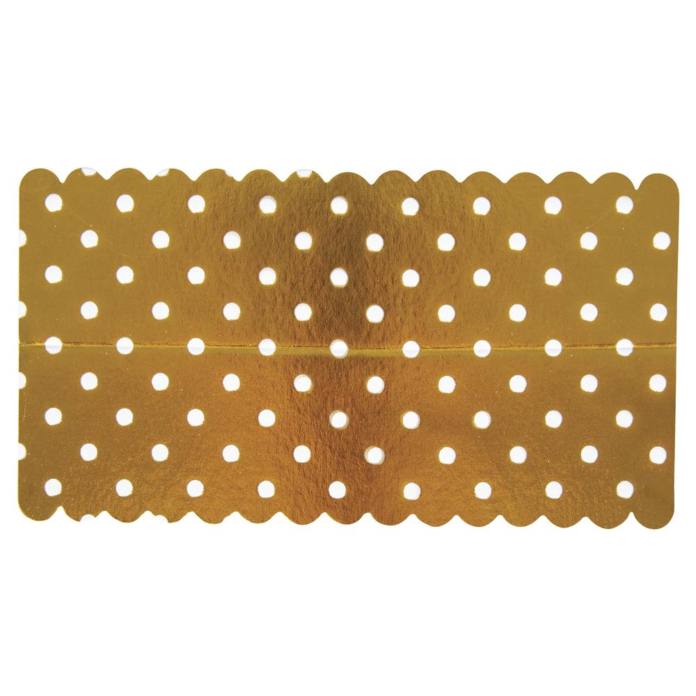 Lasche zum Verschließen v. Papiertütchen, Goldfolie gepunktet, SB-Btl 10Stück
