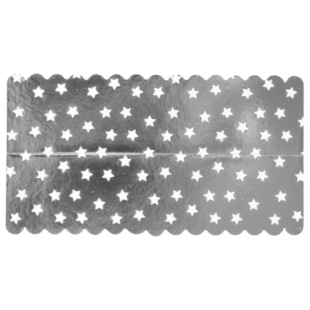 Lasche zum Verschließen v. Papiertütchen, Silberfolie mit Sternen, SB-Btl 10Stück