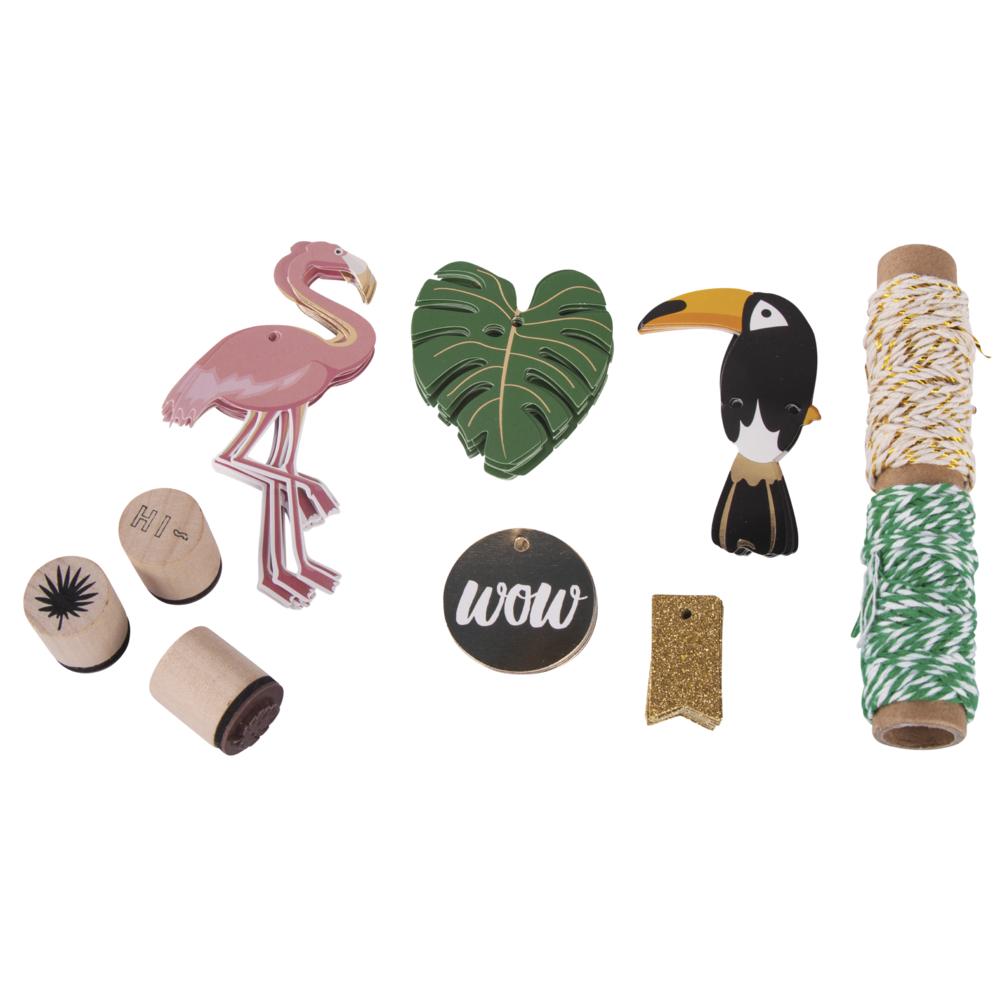 Set-Geschenkanhänger Tropical, Tags+Kordel+Stempel