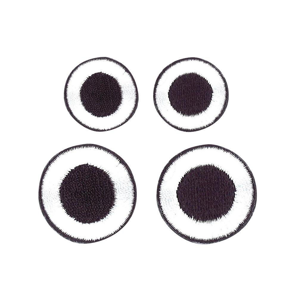 Stoff Aufbügelmotiv Basic Eyes, 2-2,7cm, weiß + schwarz, SB-Btl 2Paar, 2Paar
