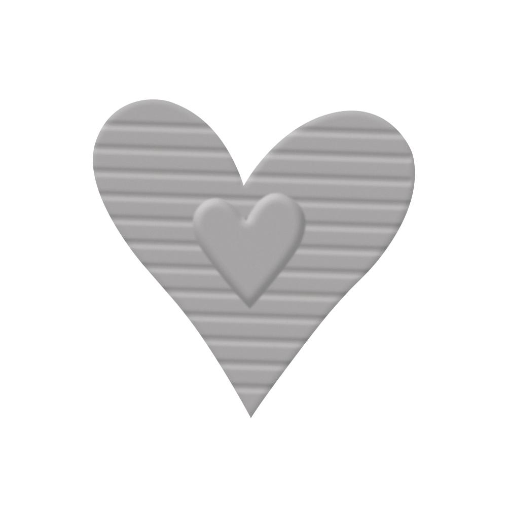 Embossing-Stanzer: Herz gestreift, 2,7x2,9cm, SB-Blister 1Stück
