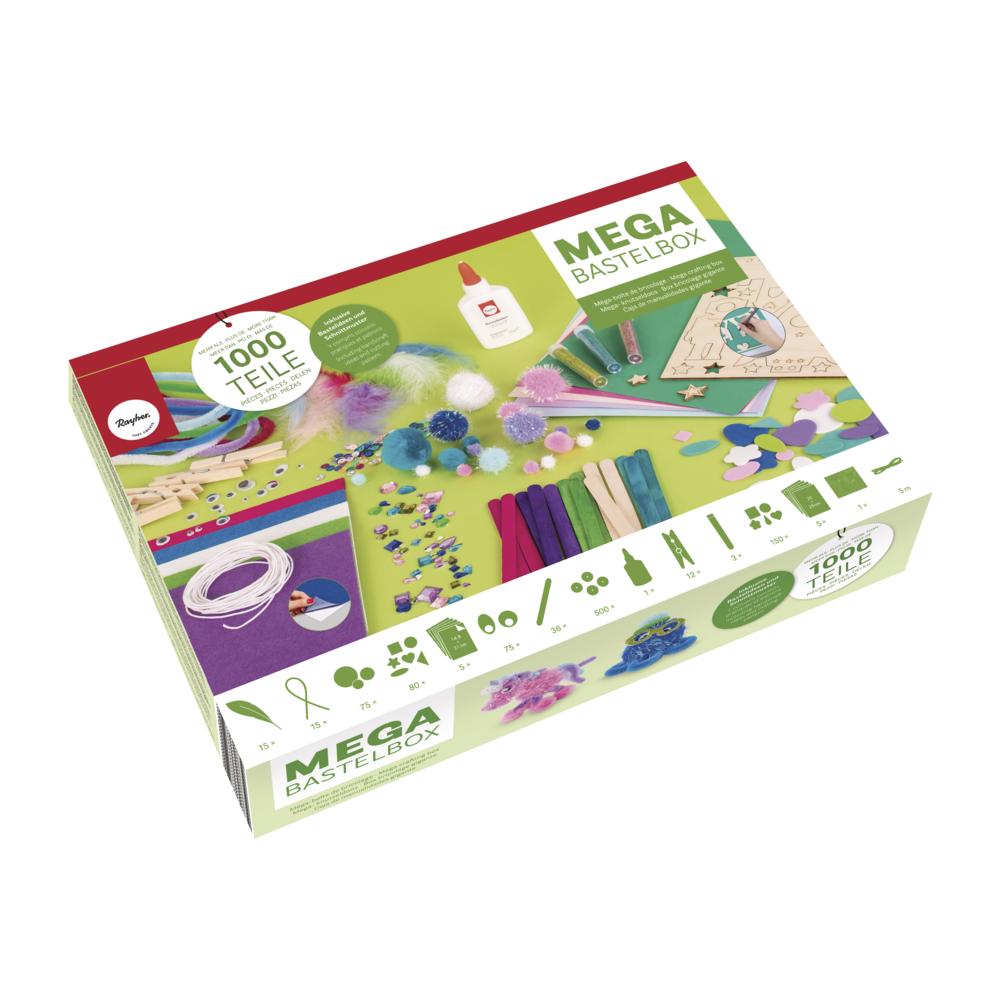 Mega-Bastelbox Fantasy 1.000 Teile, blau-grün/pink-lila Töne, Box
