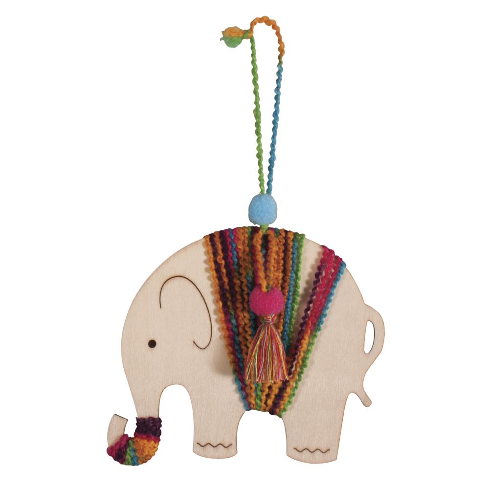 Bastelpackung: Holzhänger Elefant, 11,9x15cm, SB-Btl. 1Stück