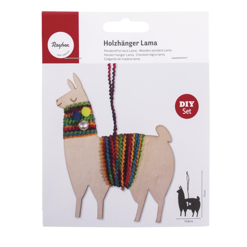 Bastelpackung: Holzhänger Lama, 10,8x15cm, SB-Btl. 1Stück