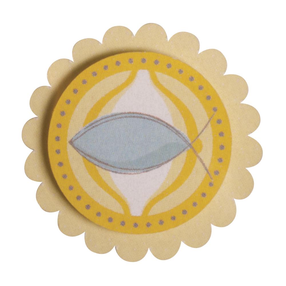 3D Papier-Accessoires: Christl. Fisch, 3,9x3,9cm, selbstklebend, SB-Btl 6Stück