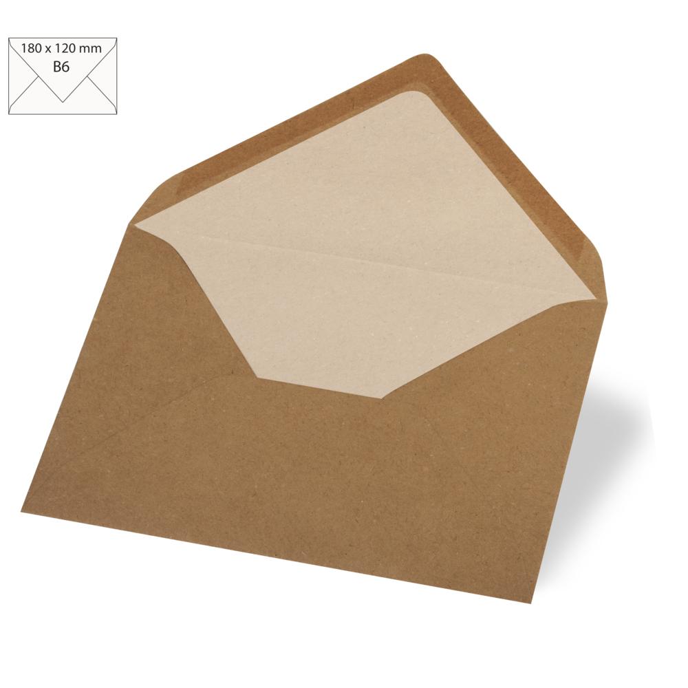 Kuvert B6, kraft, FSC Recycled Credit, 180x120mm, 90g/m2, Beutel 5Stück, kraft