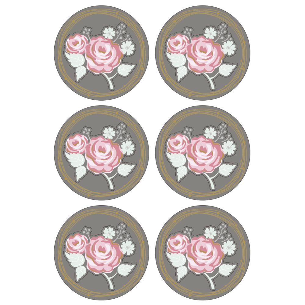 3D Papier-Accessoires: Rose, 4cm ø, selbstklebend, SB-Btl 6Stück