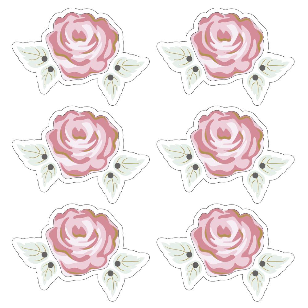 3D Papier-Accessoires: Romantic Rose, 4,7x3,2cm, selbstklebend, SB-Btl 6Stück