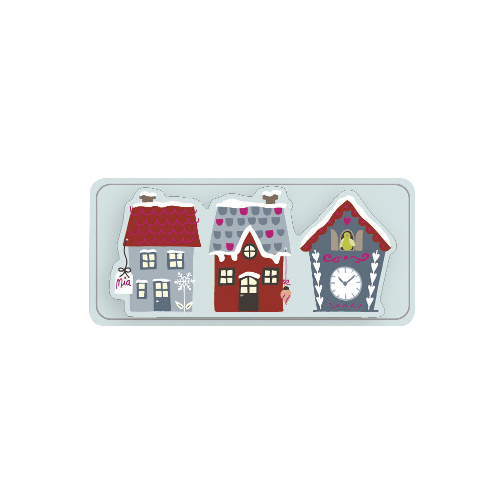 3D Papier-Accessoires: Häuser, 5,5x2,5cm, selbstklebend, SB-Btl 6Stück