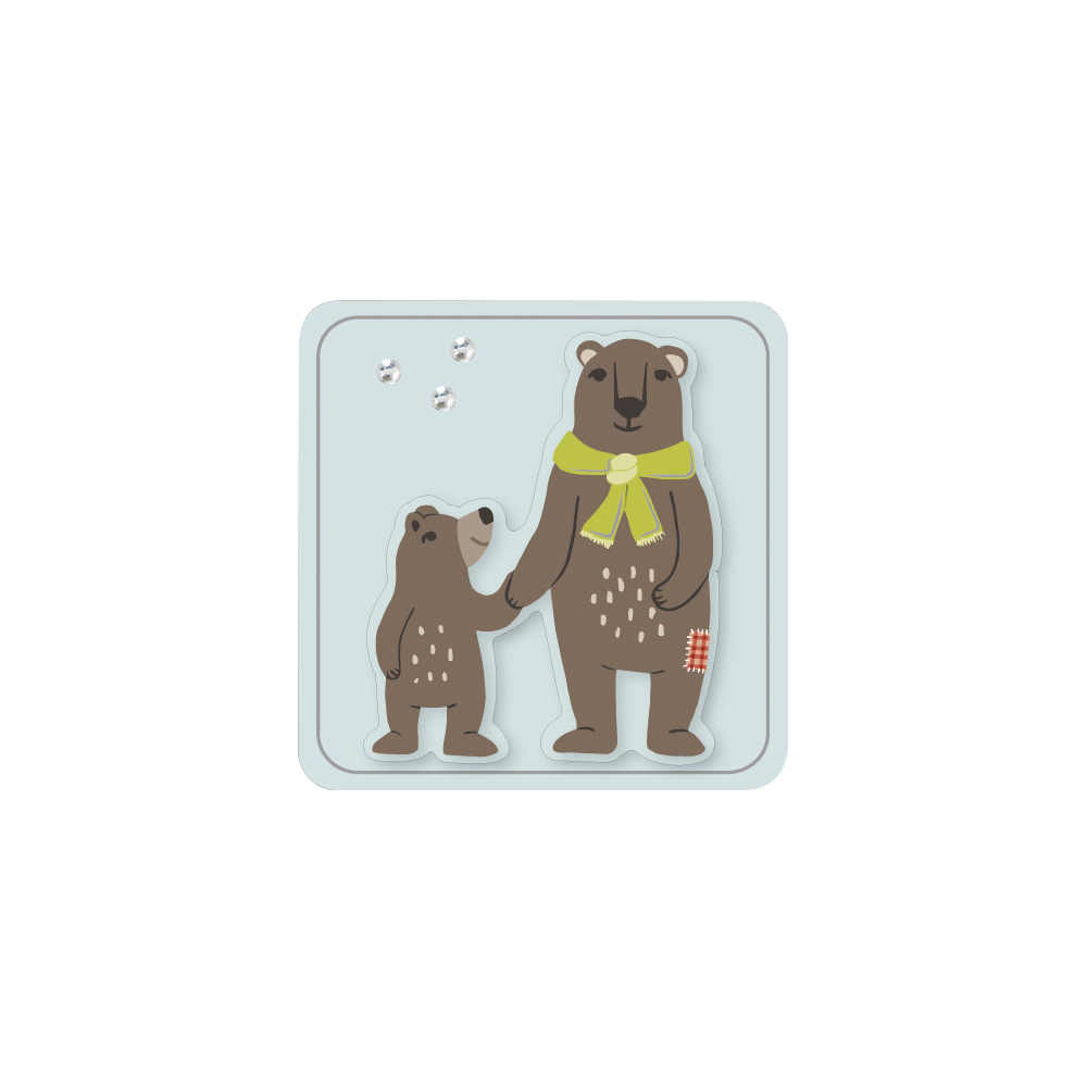 3D Papier-Accessoires: Bären, 3,8x3,8cm, selbstklebend, SB-Btl 6Stück