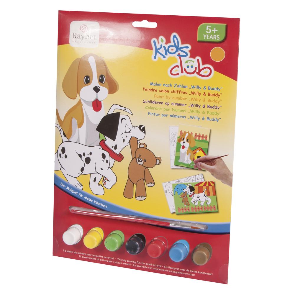 Malen nach Zahlen- Hunde Willy&Buddy, 22,5x29,4cm, 12-teilig