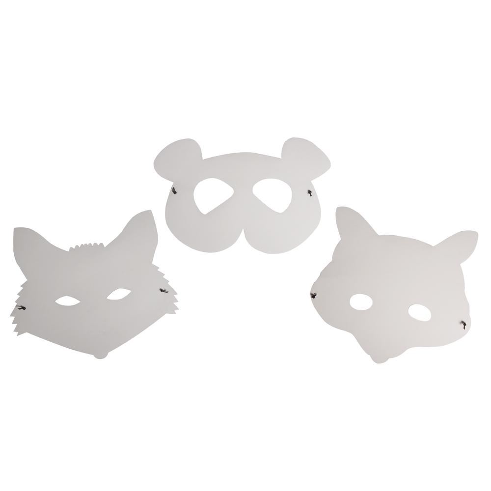Papp-Masken Trio: Tiere, FSC Rec. 100%, 3 Designs, m. Gummiband, SB-Btl 1Set