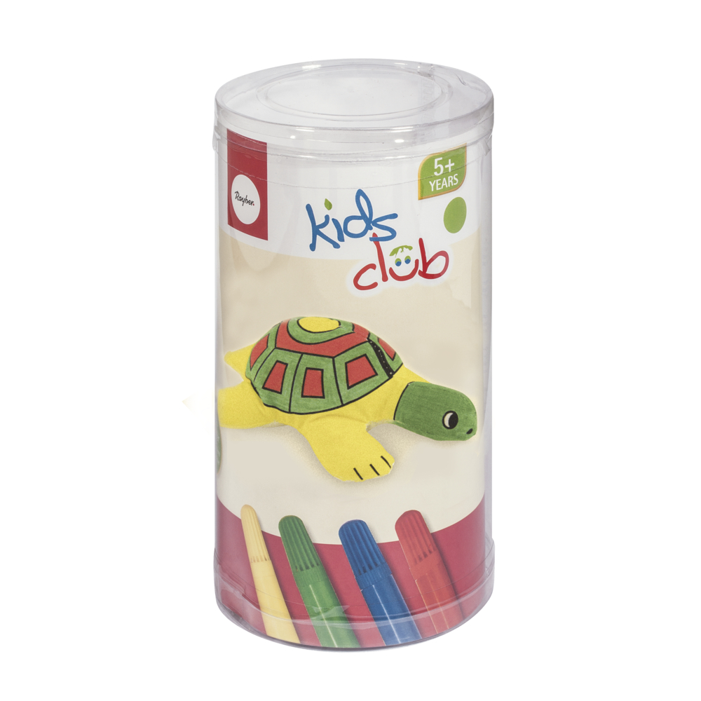 Stofftier -Schildkröte- zum Bemalen, 12 cm, PVC-Box 1 Tier + 4 Stifte
