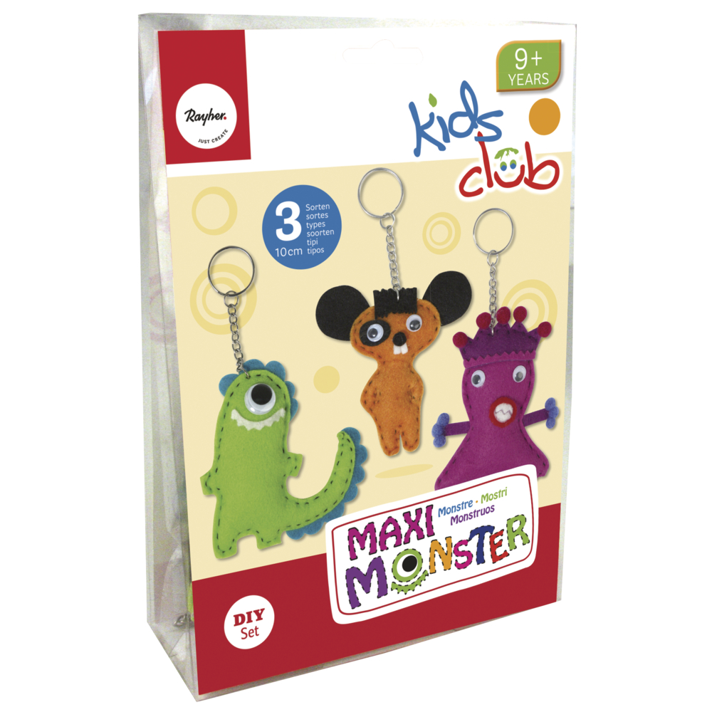 Bastelpackung: Monster-Maxi, 10 cm, 3 Sorten