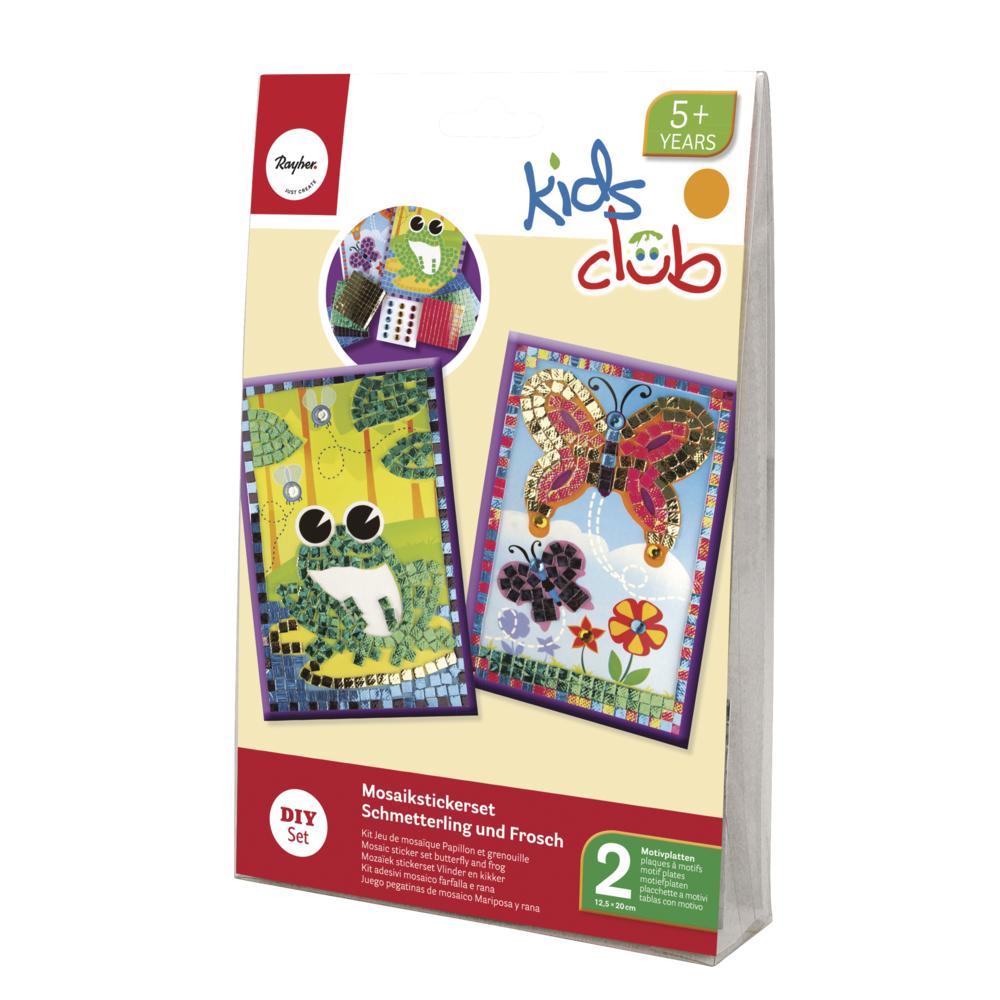 Mosaik-Stickerset-Schmetterling+Frosch, 12,5x20 cm, 10 tlg., 2 Motivplatten