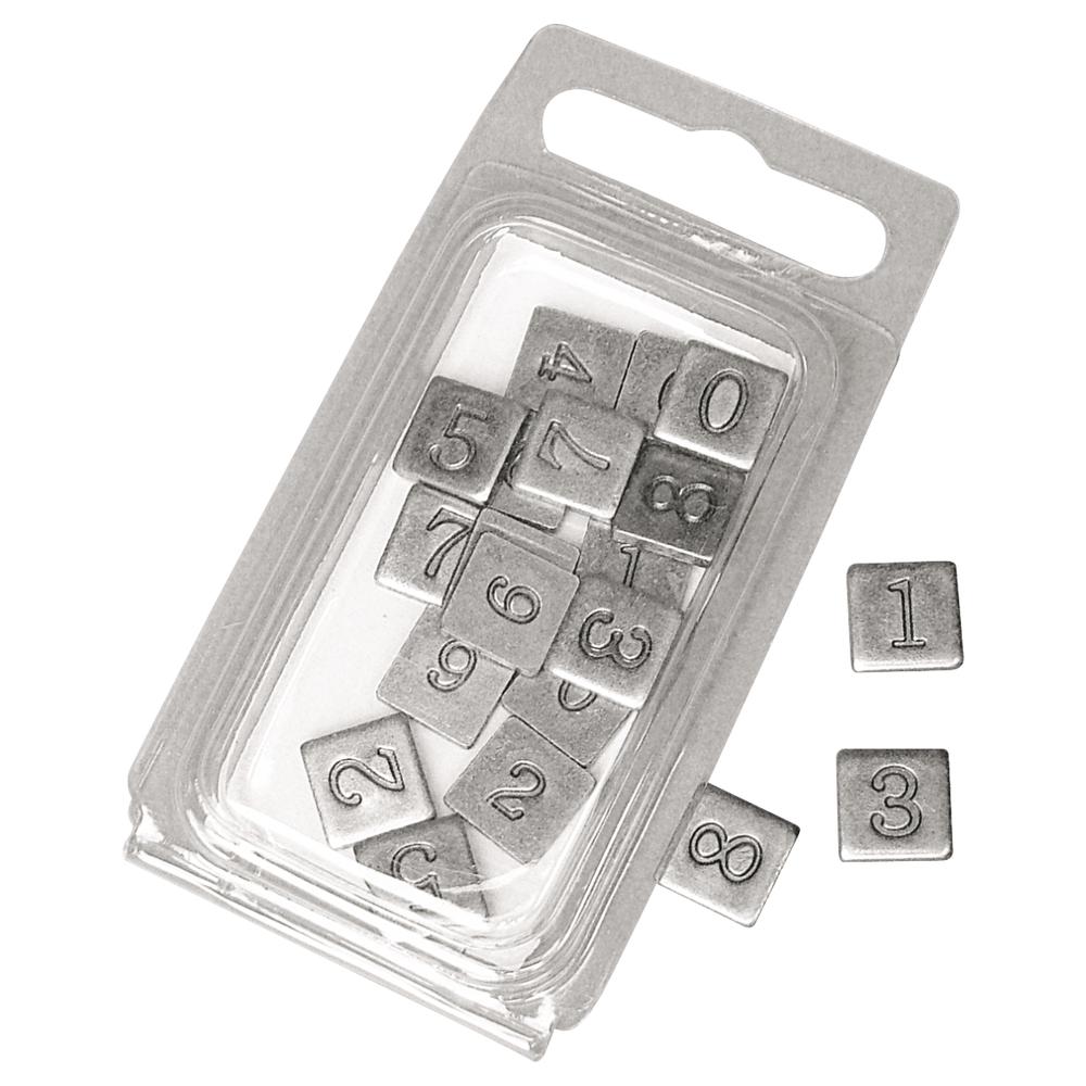 Metall-Zahlen, geprägt, 0,9x0,9 cm, SB-Blister 20 Stück, altsilber