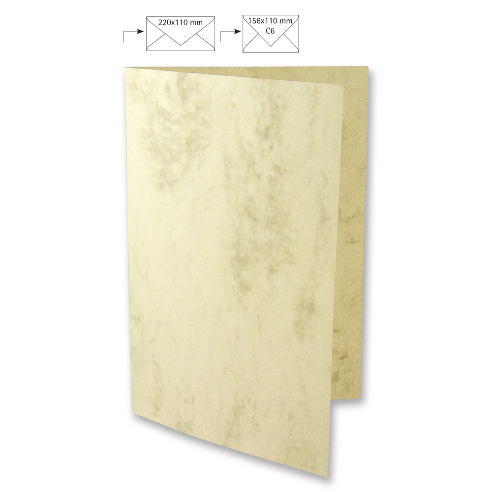 Karte A4, 210x297 mm, FSC Mix Credit, marmor, 220g, Beutel 5 Stück, beige